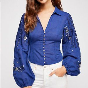 Free People Dance With Me Top Embroidered Blouse